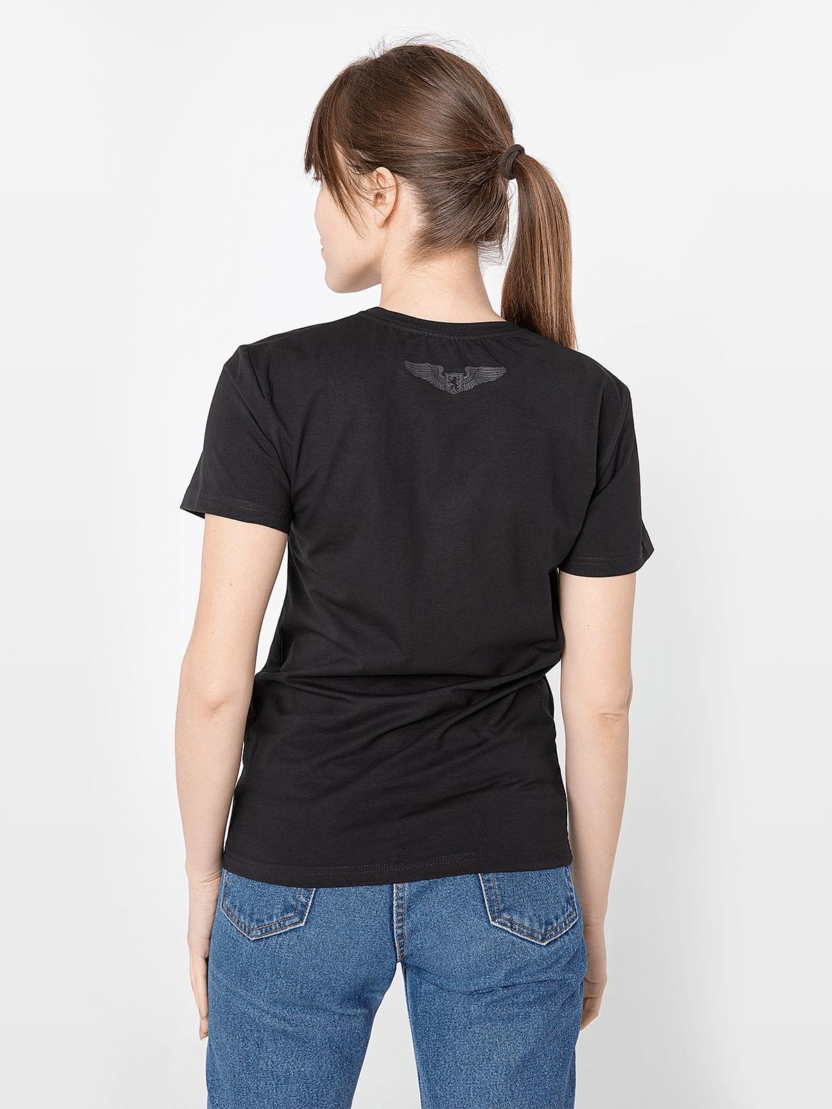 Women's T-Shirt Flu. Color black.  Technique of prints applied: silkscreen printing.