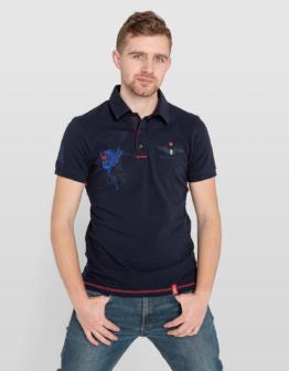 Men's Polo Shirt 12 Brigade (Kalyniv). Color dark blue. Тканина піке: 100% бавовна.