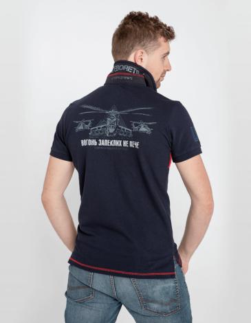 Men's Polo Shirt 12 Brigade (Kalyniv). Color dark blue. Pique fabric: 100% cotton.