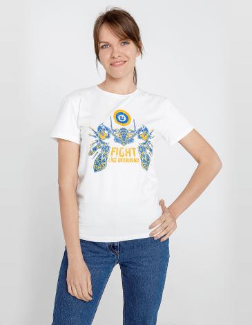 Women's T-Shirt Flu. Color off-white. Material: 95% cotton, 5% spandex.