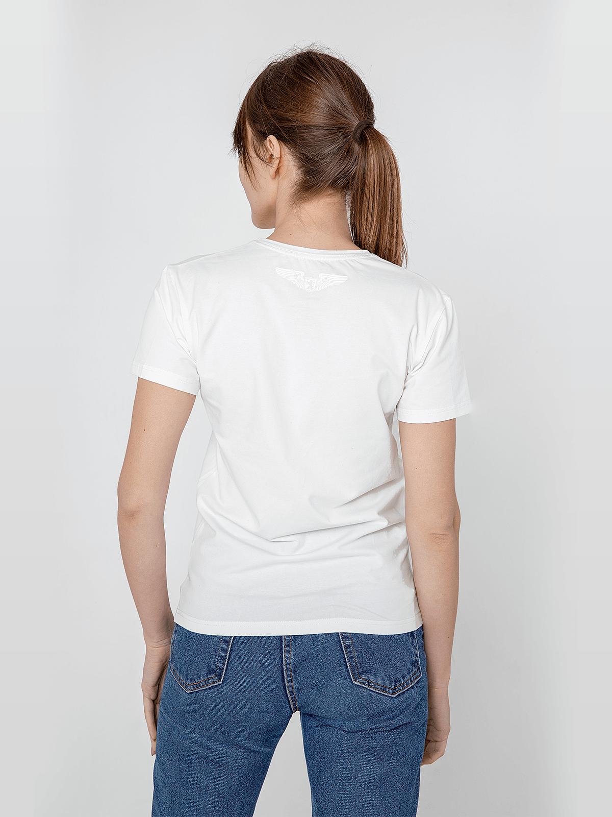 Women's T-Shirt Flu. Color off-white.  Technique of prints applied: silkscreen printing.