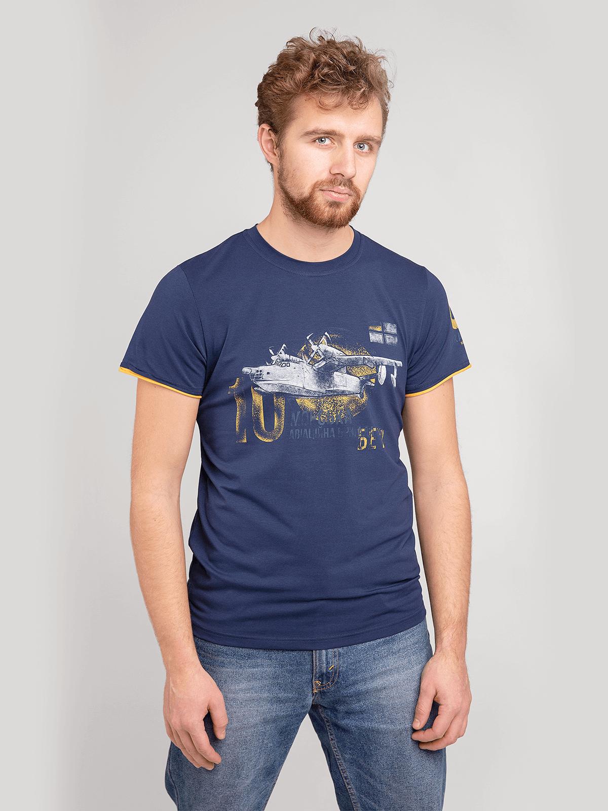 Men's T-Shirt Be-12. Color dark blue. Material: 95% cotton, 5% spandex.
