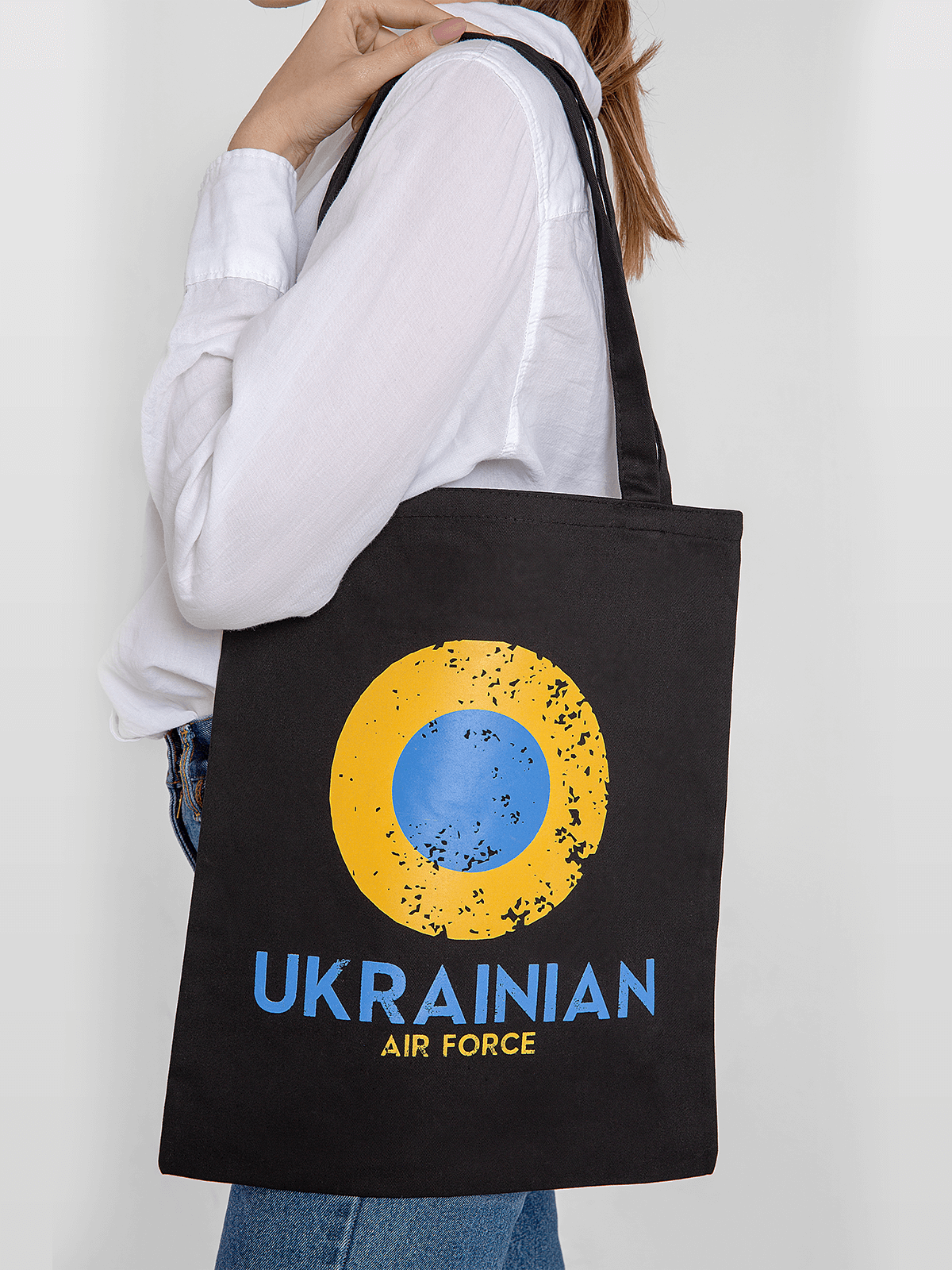 Eco Bag Ukrainian Air Force. Color dark blue. Material of the bag: serge Size: height – 39 cm, width – 33,5 cm.