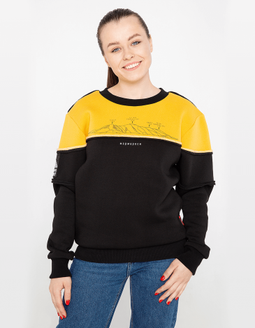 Women's Sweatshirt Marmarosy. Color yellow. Unisex sweatshirt (men's sizes).
