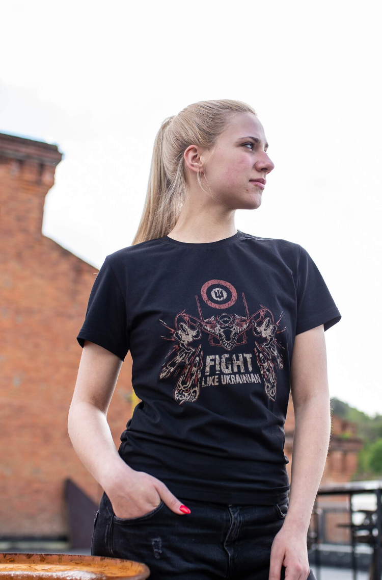 Women's T-Shirt Flu. Color black.  Size worn by the model: S.