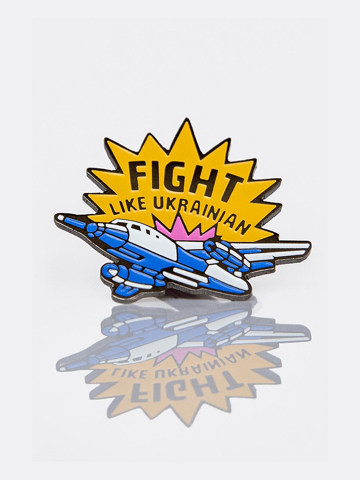 Значок Fight Like Ukrainian. Колір темно-синій. 1.