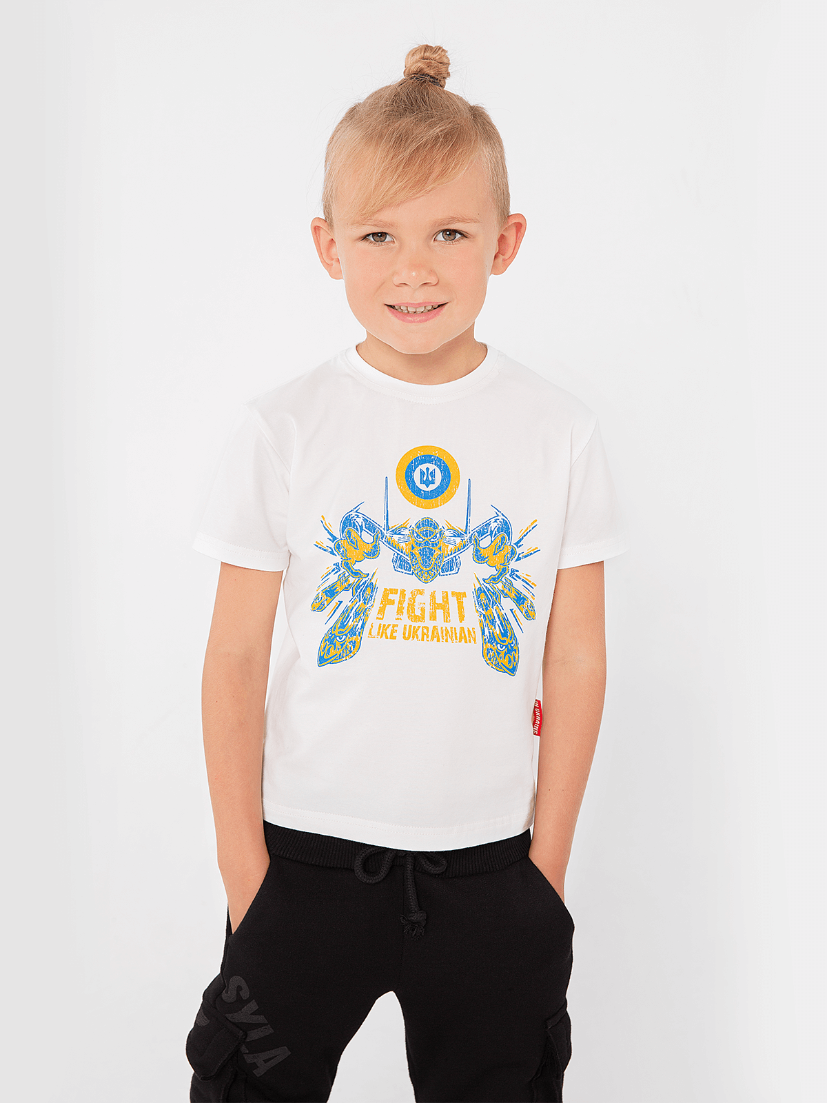 Kids T-Shirt Flu. Color off-white. Material: 95% cotton, 5% spandex.