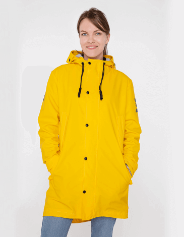Women's Raincoat From Lviv With Rain. Color yellow. For whom: For those who appreciate multifunctionality, comfort in bad weather, bright colors, nice and extraordinary design, smooth materials, and who always strive to support Ukrainian high-quality products, and, for sure, love Lviv and its rain.