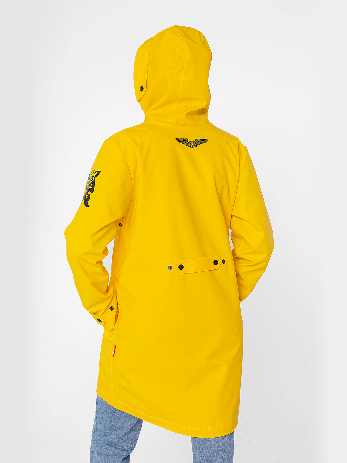 Women's Raincoat From Lviv With Rain. Color yellow.  Especially when you are in Lviv (you never know when the rain will start pouring down); – walks with pets; – short cycling ride; – having it in the car just in case; – cases when you decide to work on a fishing trawler in the middle of the ocean.