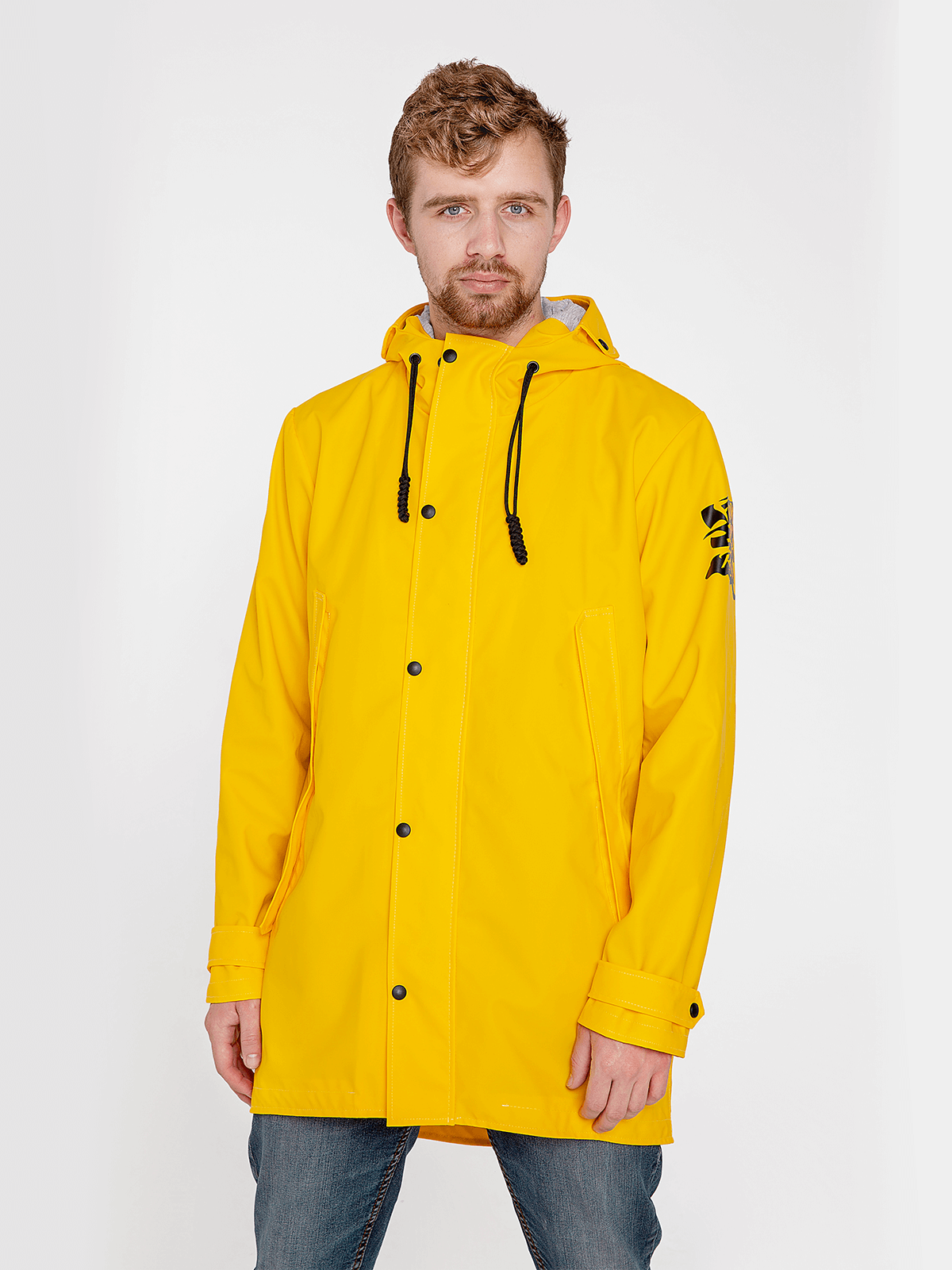 Men's Raincoat From Lviv With Rain. Color yellow. Outer material: basic – polyester 100%, covering – PVC -100%, water resistance 1500 g/m2/24 hour, resistant to ultraviolet, wearproof.