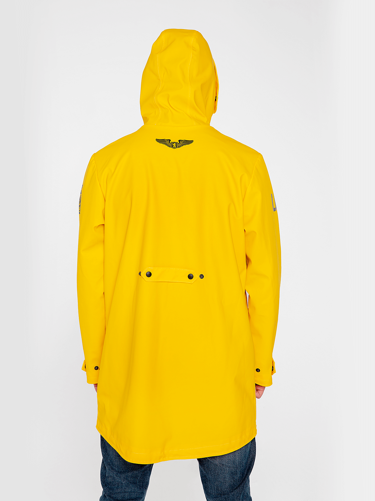 Men's Raincoat From Lviv With Rain. Color yellow.  Back lining: smooth natural material, fairly stretchable (knitwear – 95% cotton, 5 spandex) Lining in the sleeves: not stretchable, makes it possible to easily put on the jacket (shirt batiste– 100%) – 5 pockets (1 inside pocket); – glued seams; – long enough to keep your trousers dry; – not chilled through; – plastic fastener; – metal snap buttons with a plastic cover; – bright color for you to be visible in dark time of the day, especially for drivers; – stripes – paracord 2m that can be dragged out fully from the hood for your needs; – total weight – 1200 g.