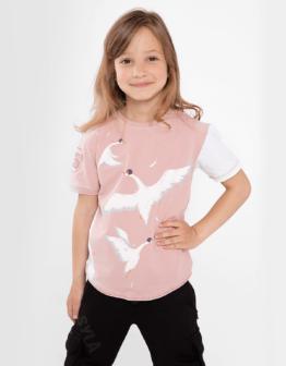 Дитяча Футболка Гуси. Колір світло-рожевий. Матеріал: 95% бавовна, 5% спандекс.