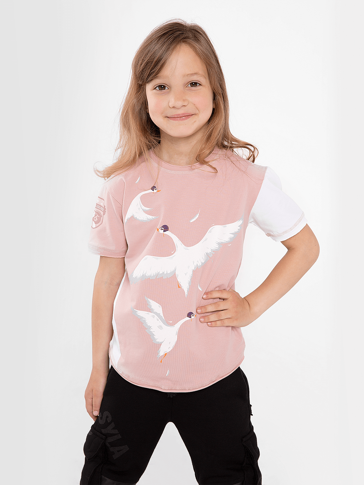 Kids T-Shirt Geese. Color pale pink. T-shirt: girl's.