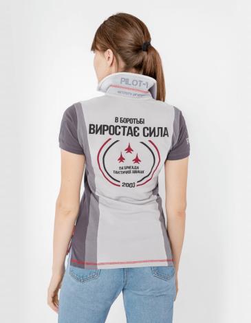 Women's Polo Shirt 114 Brigade (Mig-29). Color gray. Pique fabric: 100% cotton.