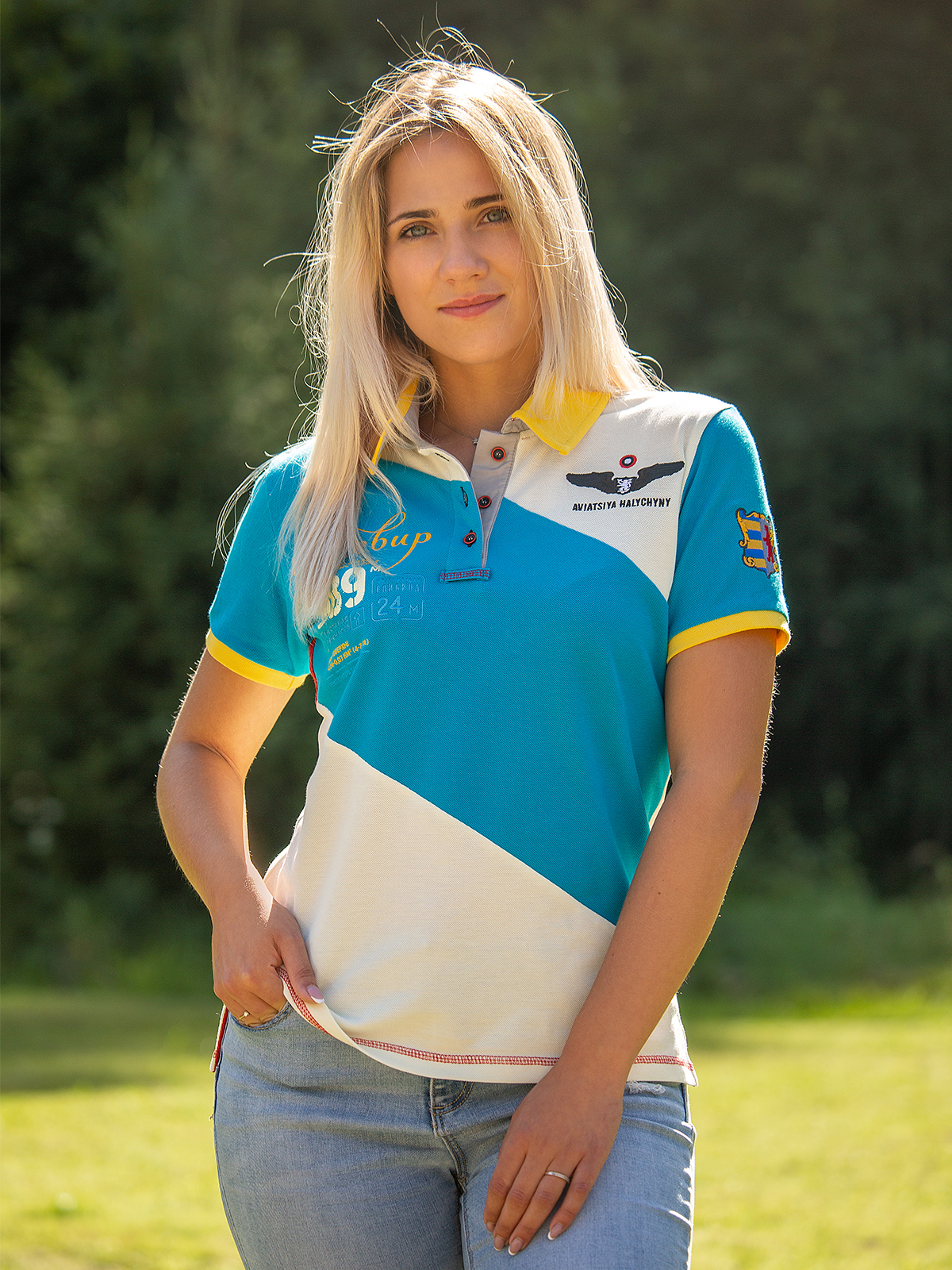 Women's Polo Shirt Synevyr. Color turquoise.  Height of the model: 175 cm.