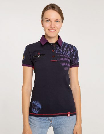 Women's Polo Shirt Balloon. Color dark blue.  Technique of prints applied: embroidery, silkscreen printing.