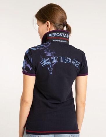 Women's Polo Shirt Balloon. Color dark blue. Pique fabric: 100% cotton.