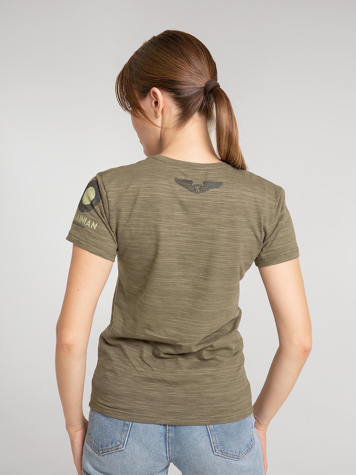 Women's T-Shirt 16 Brigade. Color khaki.  Technique of prints applied: silkscreen printing.