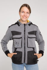 Women's Hoodie 10 Mab. Three-cord thread fabric: 77% cotton, 23% polyester.