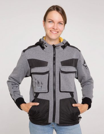 Women's Hoodie 10 Mab. Color gray. Material: 95% cotton, 5% spandex.