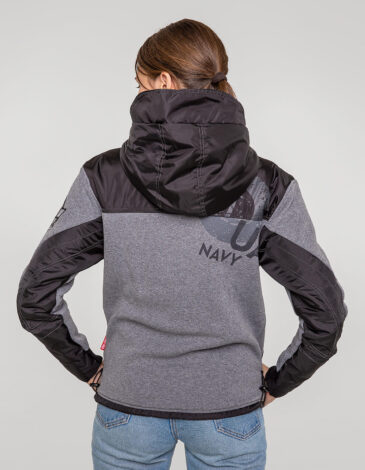 Women's Hoodie 10 Mab. Color gray. Three-cord thread fabric: 77% cotton, 23% polyester.