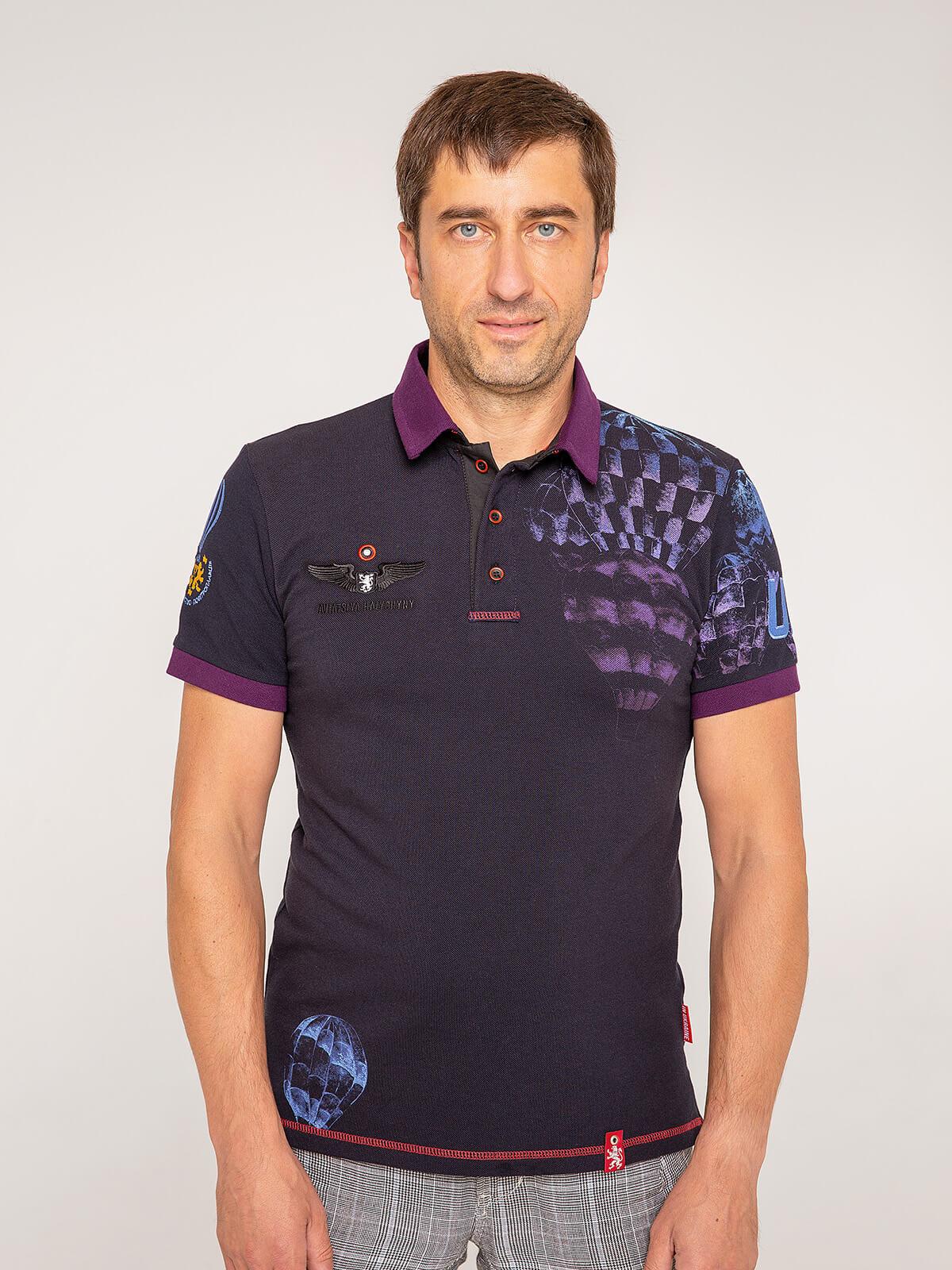 Men's Polo Shirt Balloon. Color dark blue. Pique fabric: 100% cotton.