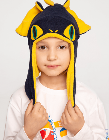 Kids Hat Dragon. Color navy blue. Hat: unisex, well suited for both boys and girls.