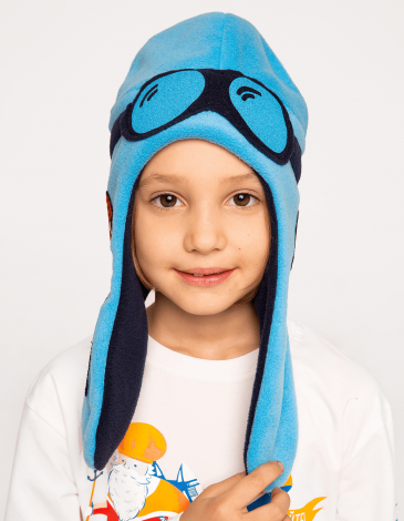 Kids Hat Pilot. Color sky blue. Hat: unisex, well suited for both boys and girls.
