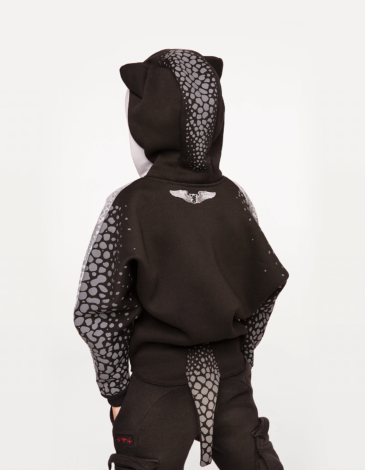 Kids Hoodie Stingray. Color gray. Hoodie: unisex, well suited for both boys and girls.