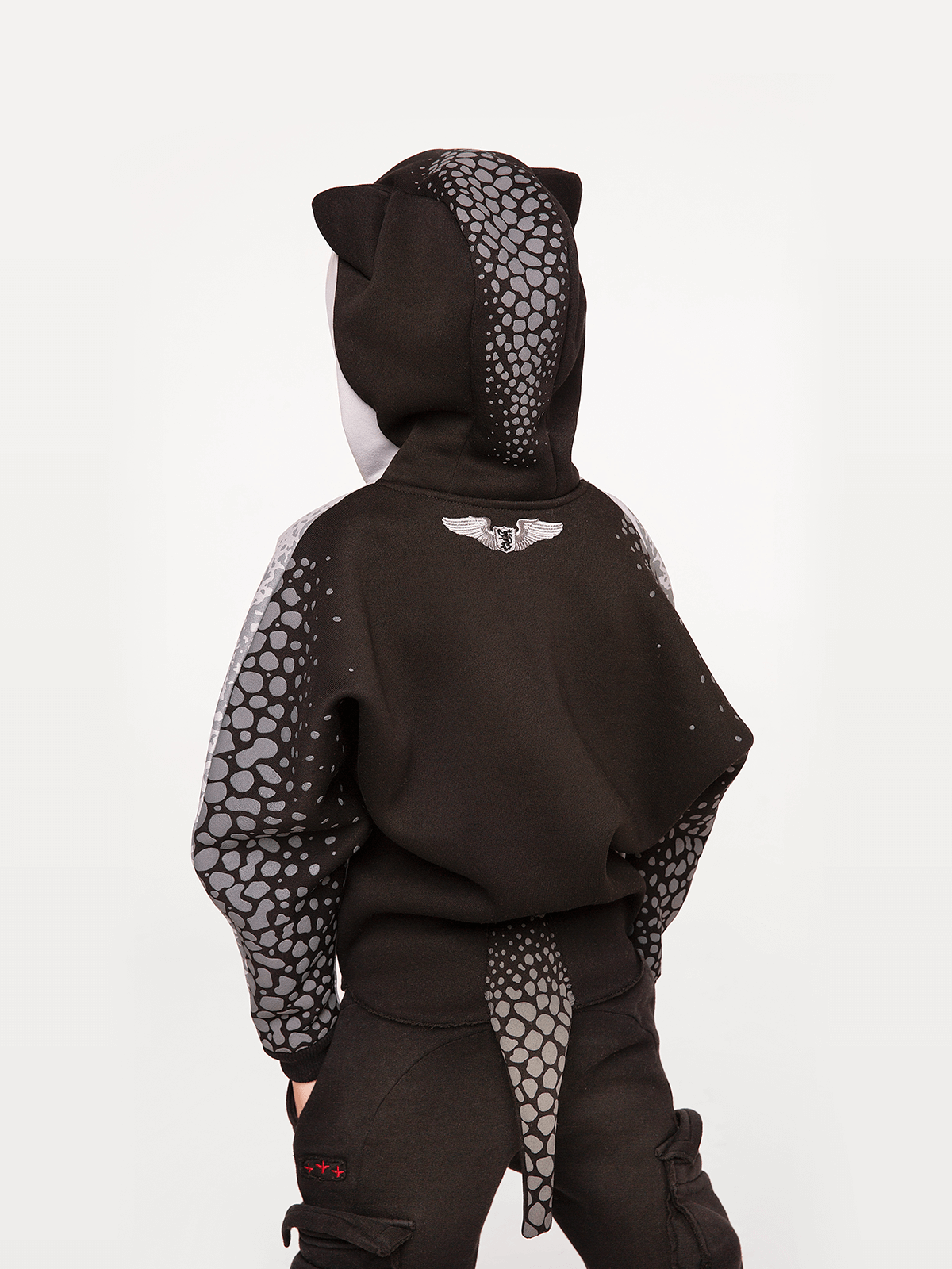 Kids Hoodie Stingray. Color gray.  Material of the hoodie – three-cord thread fabric: 77% cotton, 23% polyester.