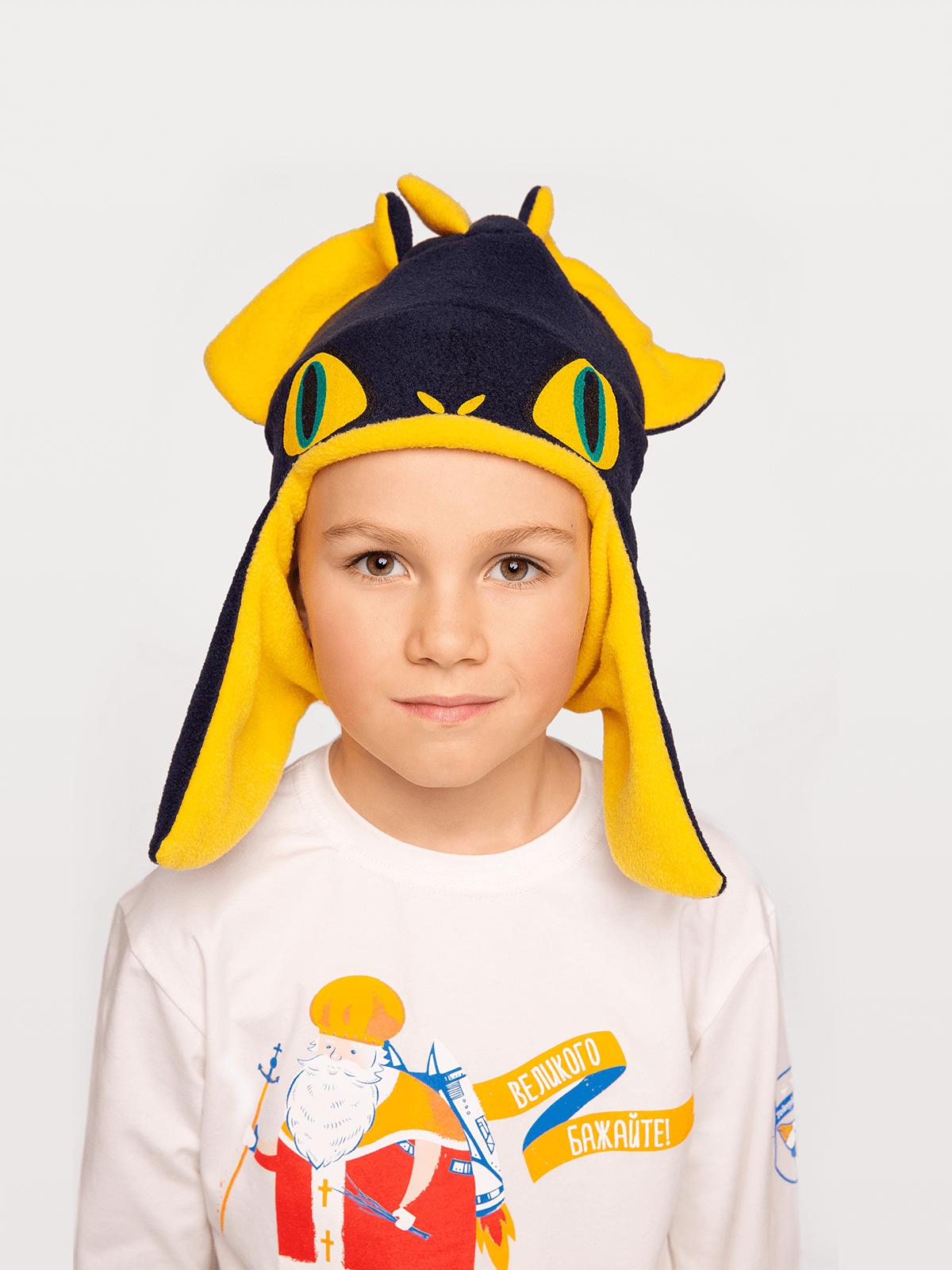 Дитяча Шапка Дракон. Колір синій.  Матеріал: 100% поліестер.
