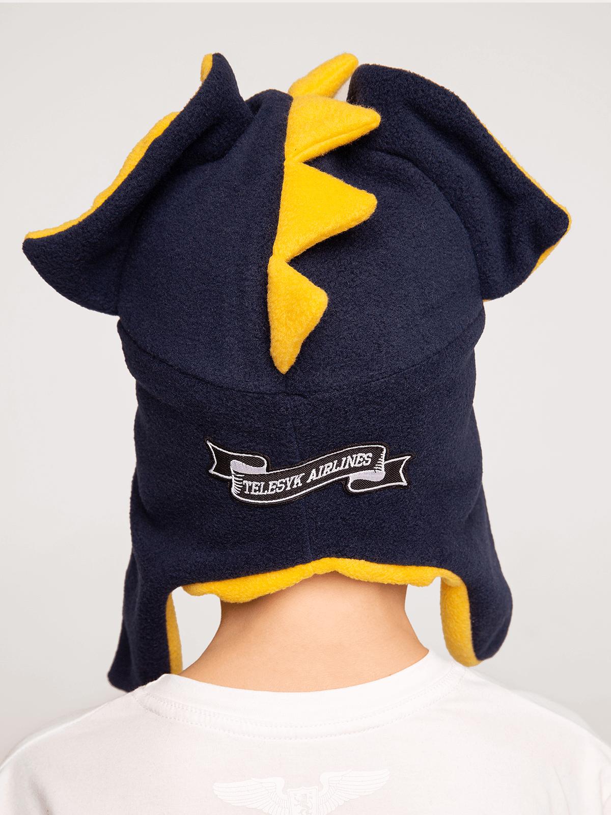 Kids Hat Dragon. Color navy blue.  Technique of prints applied: chevrons, silkscreen printing.