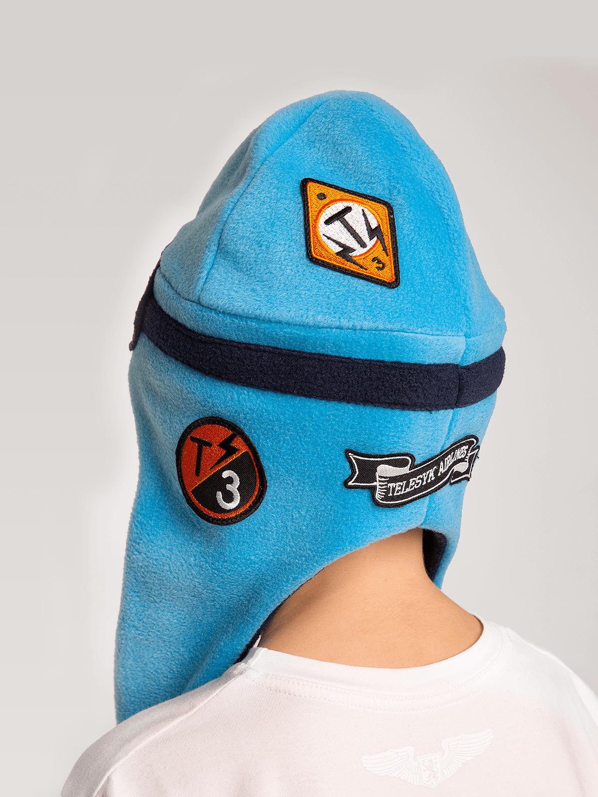 Kids Hat Pilot. Color sky blue. .