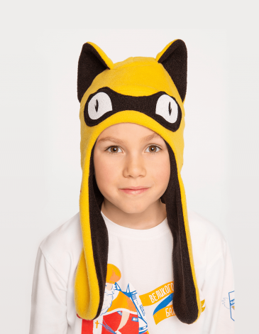 Kids Hat Wild Cat. Color yellow. Hat: unisex, well suited for both boys and girls.