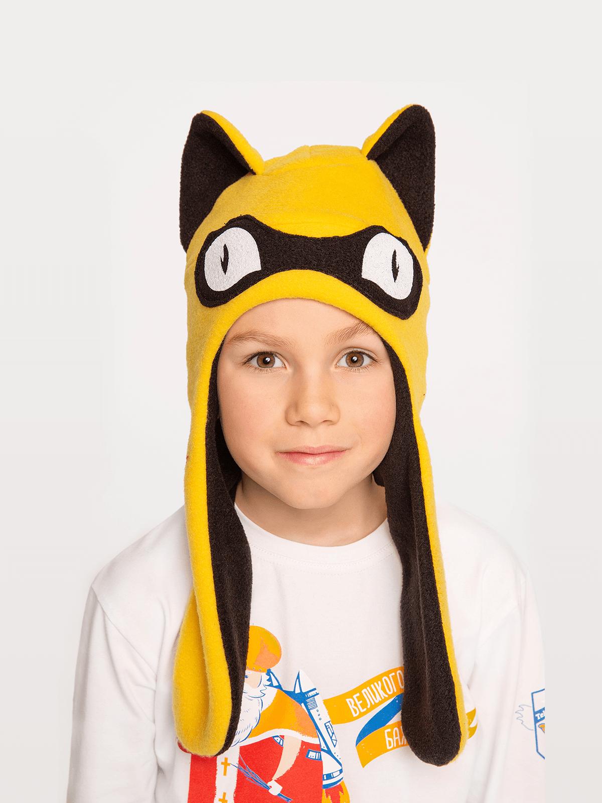 Дитяча Шапка Дикий Кіт. Колір жовтий. Шапка: унісекс, пасує і дівчаткам, і хлопцям.