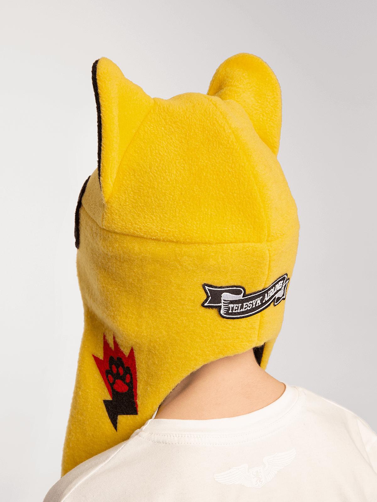 Дитяча Шапка Дикий Кіт. Колір жовтий.  Окружність голови: 50 см Технологія нанесення зображень: нашивки, шовкодрук.