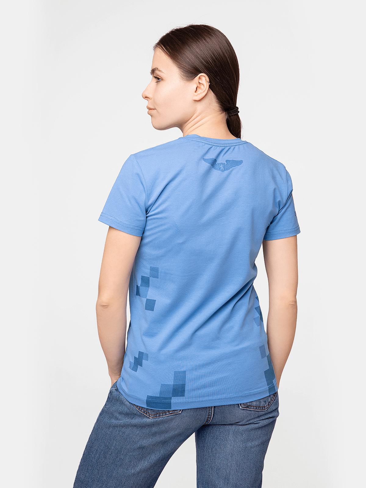 Жіноча Футболка 831 Бригада. Колір блакитний.  Матеріал: 95% бавовна, 5% спандекс.