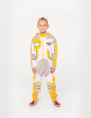 Флісова Піжама-Комбінезон Скафандр. Колір жовтий. Піжама: унісекс, пасує і дівчаткам, і хлопцям.