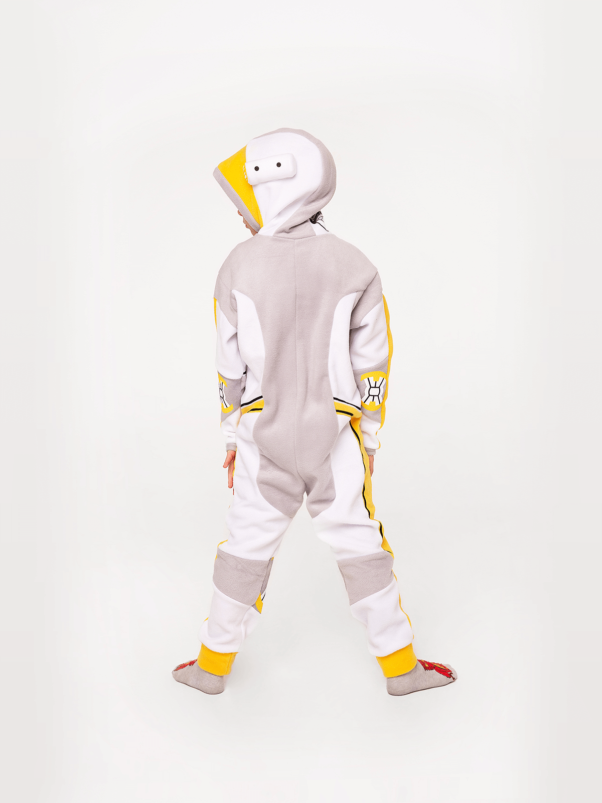 Pajamas Spacesuit. Color yellow.  Technique of prints applied: silkscreen printing.