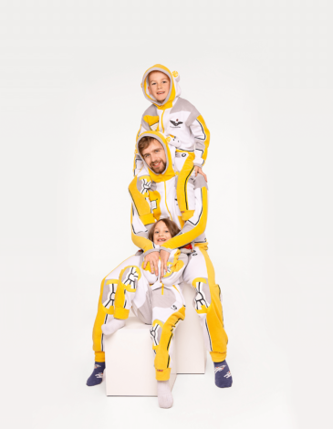 Pajamas Spacesuit. Color yellow. Pajamas: unisex, well suited for both boys and girls.
