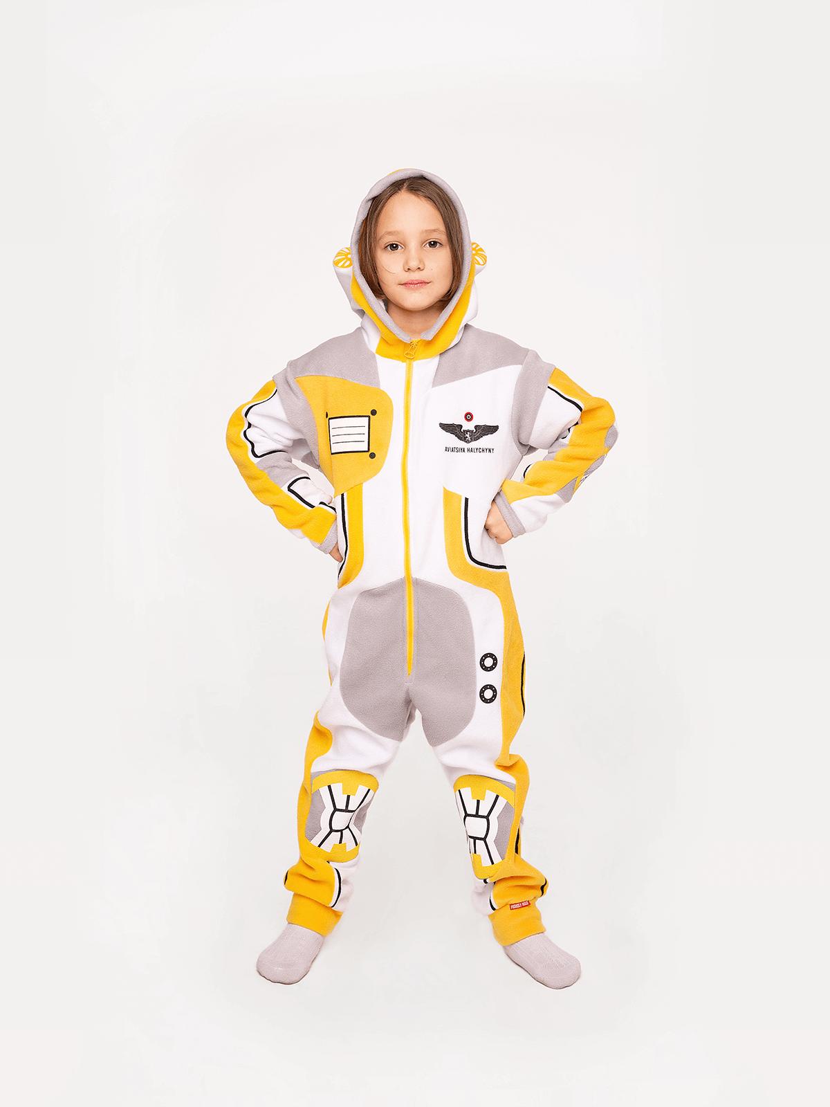 Pajamas Spacesuit. Color yellow. .