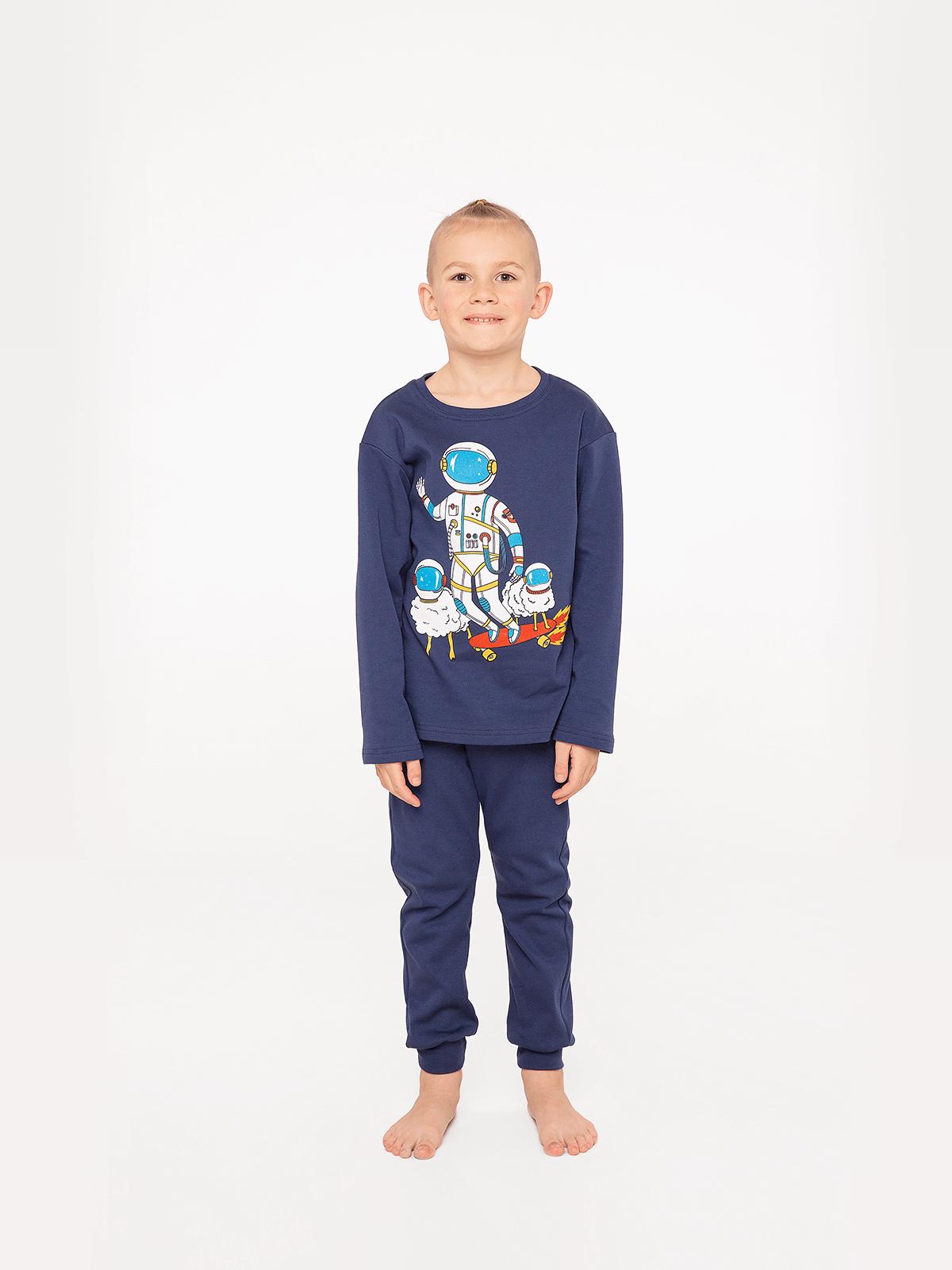 Kids Pajamas Space Shepherd. Color navy blue.  Technique of prints applied: silkscreen printing.