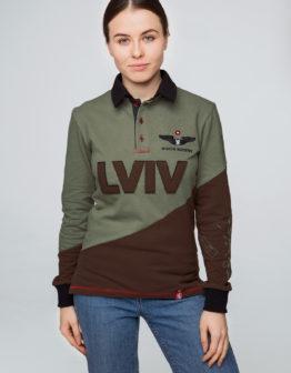 Women's Polo Long Lviv. Color green. Поло-лонґ унісекс (розміри чоловічі).