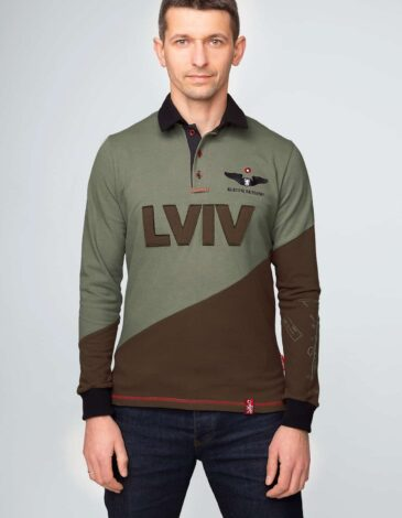 Чоловіче Поло-Лонґ Lviv. Колір зелений. Тканина піке: 100% бавовна.