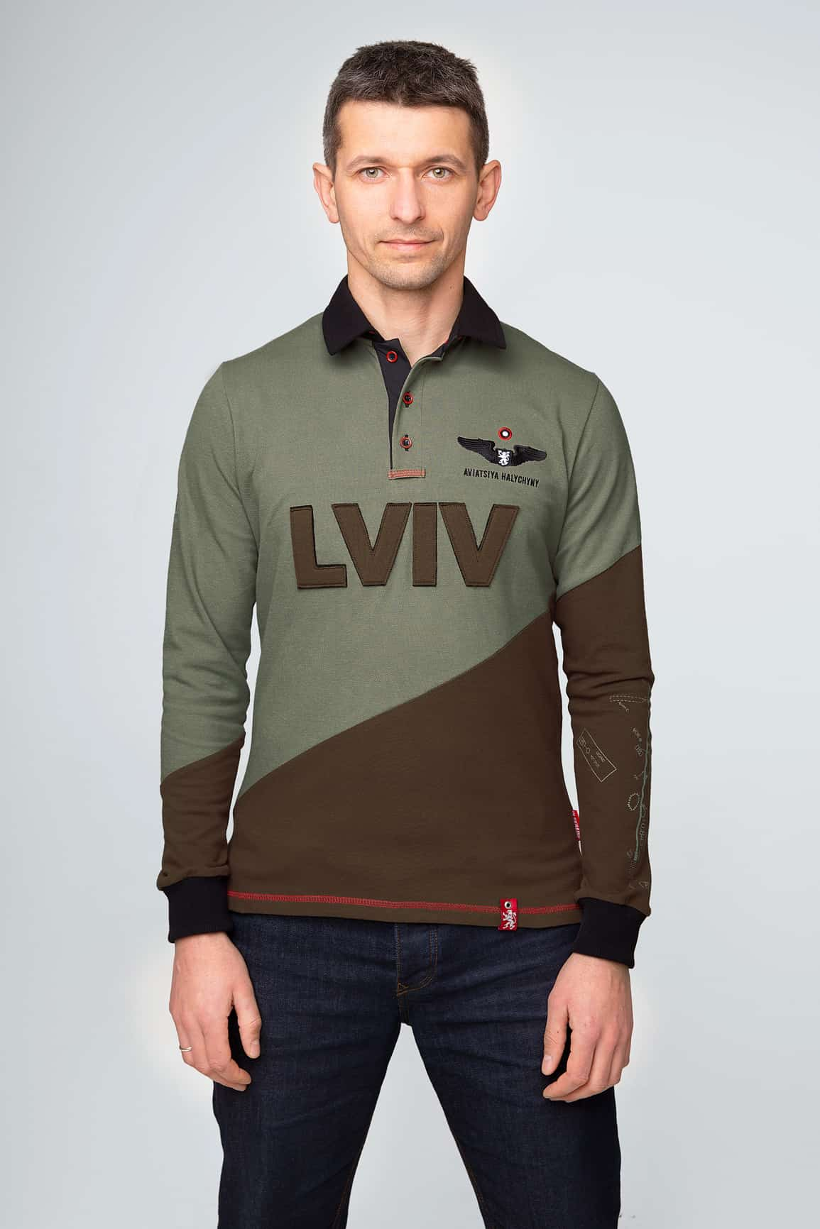 Men's Polo Long Lviv. Color green. Pique fabric: 100% cotton.