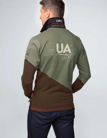Men's Polo Long Lviv. Color green. Pique fabric: 100% cotton.