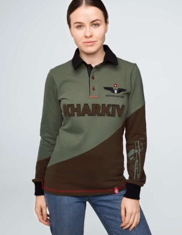 Women's Polo Long Kharkiv. Color green. Unisex polo long (men's sizes).
