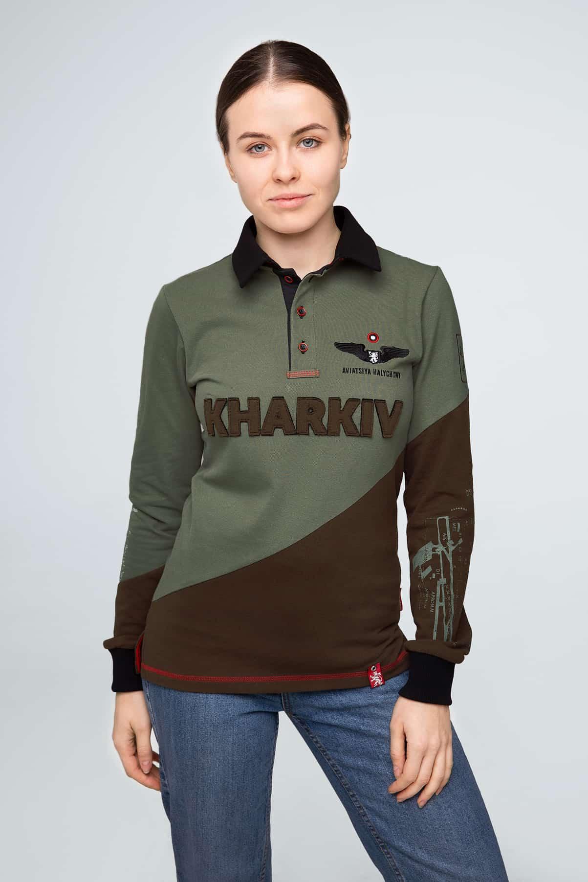 Жіноче Поло-Лонґ Kharkiv. Колір зелений. Поло-лонґ унісекс (розміри чоловічі).