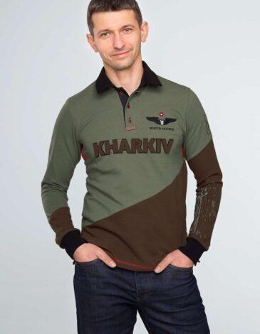 Чоловіче Поло-Лонґ Kharkiv. Колір зелений. Тканина піке: 100% бавовна.