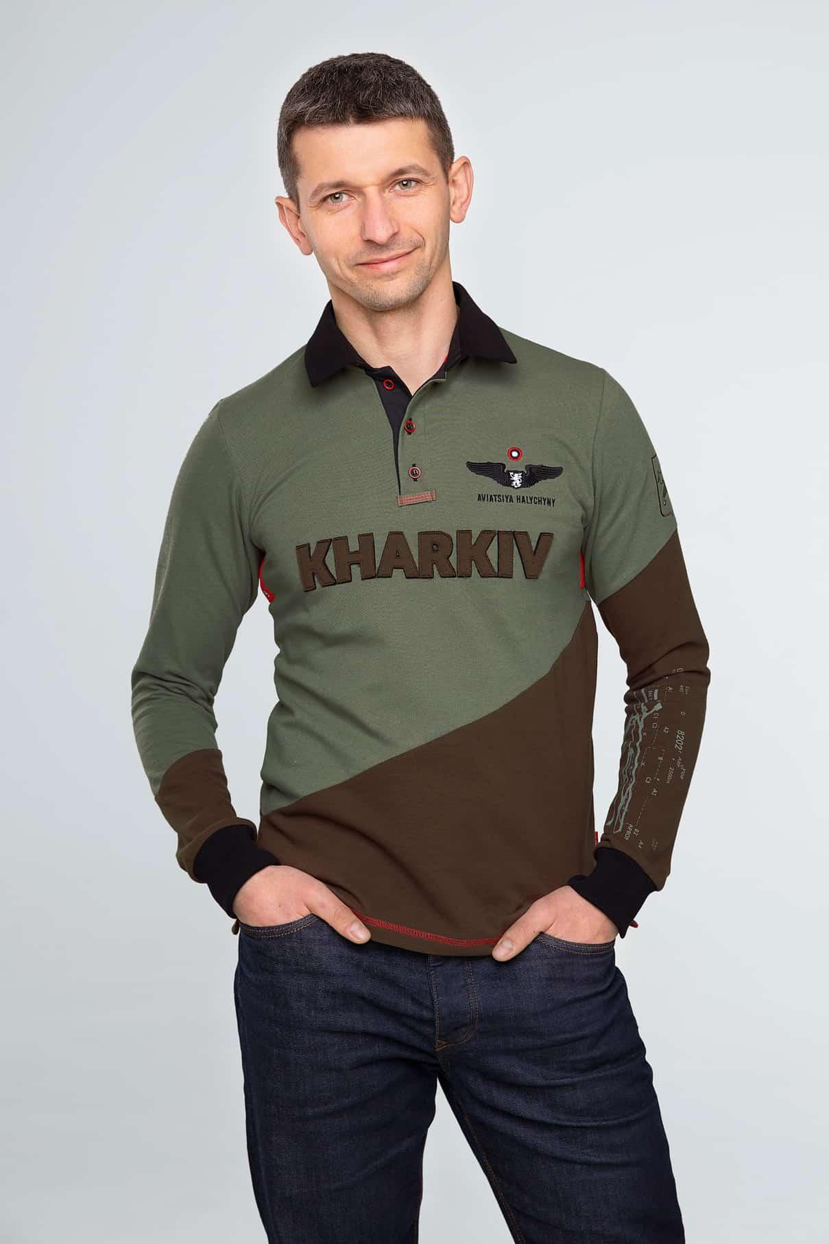 Men's Polo Long Kharkiv. Color green. Pique fabric: 100% cotton.